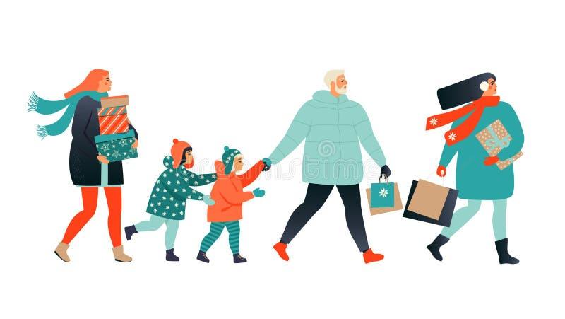 Tarjeta de felicitaci?n de la Feliz Navidad con cajas que caminan y que llevan de la gente las actuales Colecci?n del cartel del  ilustración del vector