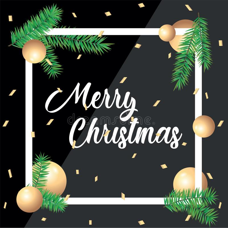 Tarjeta de felicitaci?n de la Feliz Navidad en marcos cuadrados y ramas verdes de la picea con las bolas en fondo negro modelo imagen de archivo
