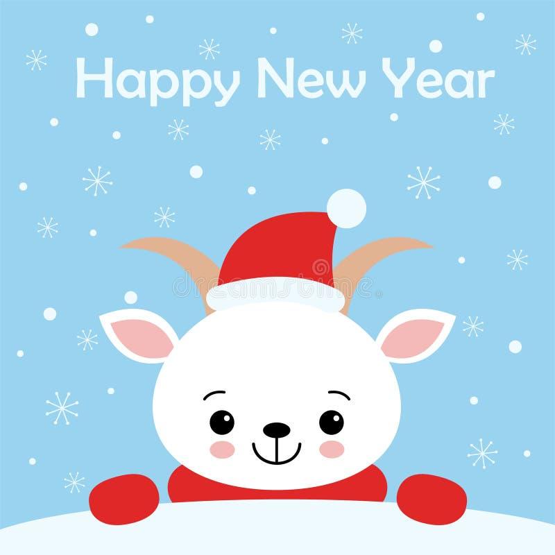 Tarjeta de felicitaci?n de la Feliz Navidad y de la Feliz A?o Nuevo Ejemplo lindo del vector Cabra blanca dulce en bufanda y el s stock de ilustración