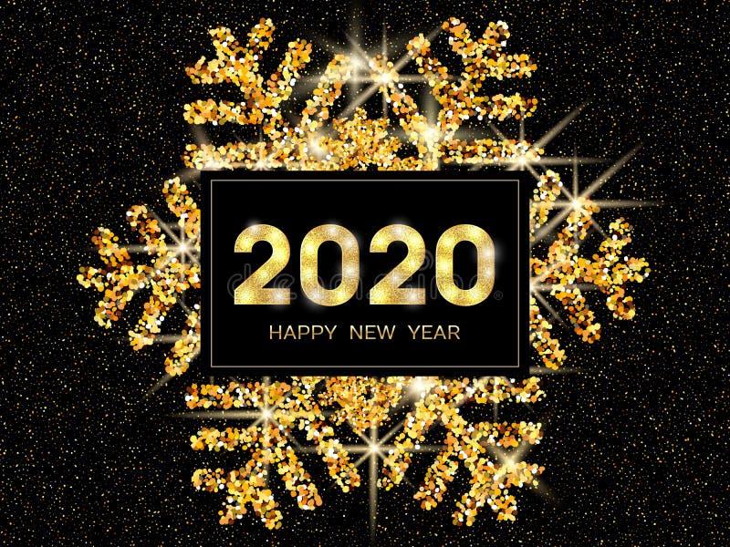 Tarjeta de felicitaci?n de la Feliz A?o Nuevo 2020 Copo de nieve y brillo del oro en fondo oscuro Texto de la Feliz A?o Nuevo 202 stock de ilustración