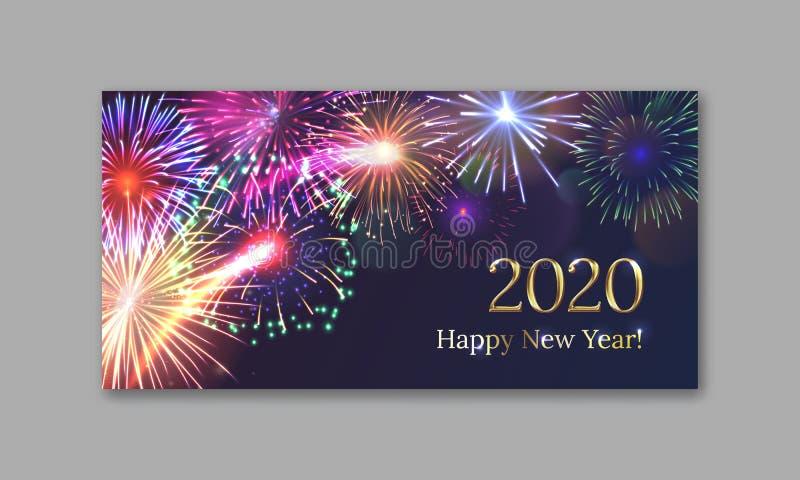 Tarjeta de felicitaci?n de la Feliz A?o Nuevo 2020 stock de ilustración