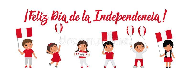 Tarjeta de felicitaci?n de Peru Independence Day deletreado texto en espa?ol: D?a de la Independencia feliz ilustración del vector