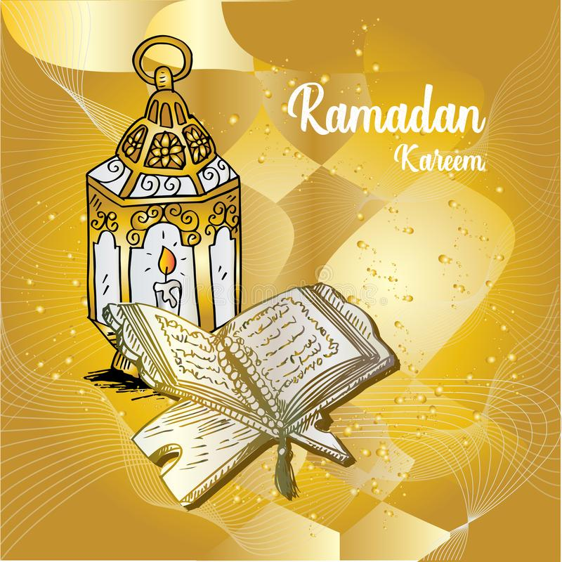 Tarjeta de felicitaci?n de Ramadan Kareem con Quran y la l?mpara ilustración del vector