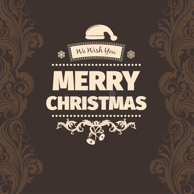 Tarjeta de felicitaciones amarillo claro de la Feliz Navidad del esquema de color del vector del marrón moderno del estilo libre illustration