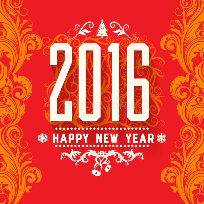 Tarjeta de felicitaciones blanca amarilla roja del Año Nuevo del esquema de color del vectorstyle moderno ilustración del vector