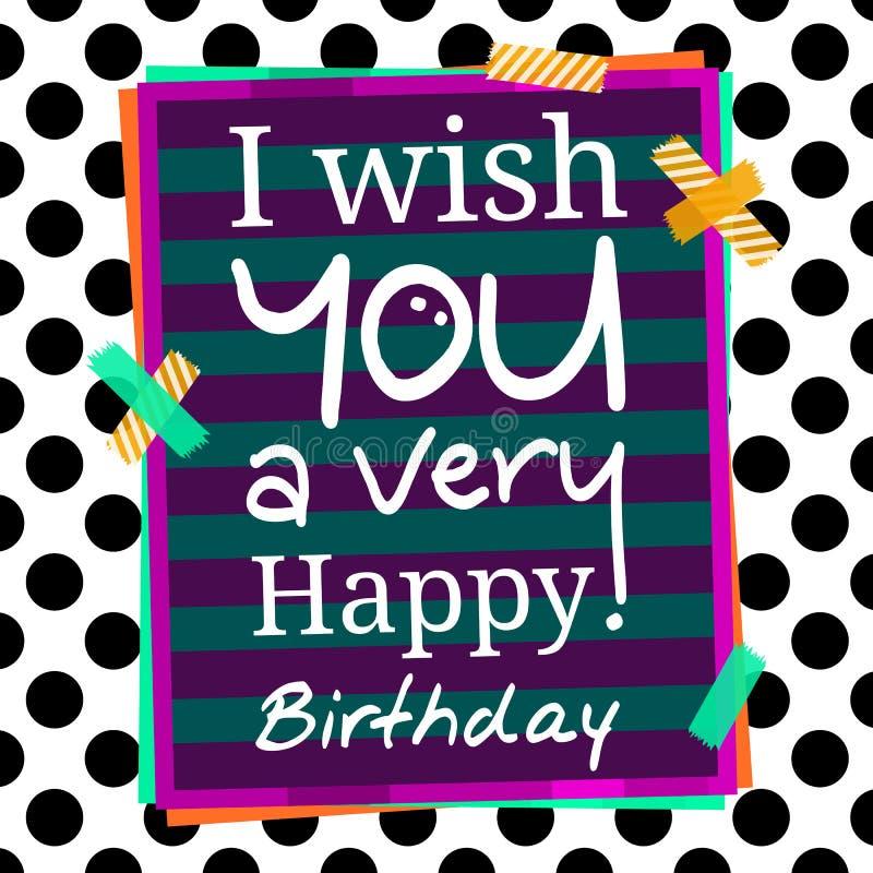 Tarjeta de felicitaciones del feliz cumpleaños en fondo punteado Etiquetas engomadas y papel para su texto Vector ilustración del vector