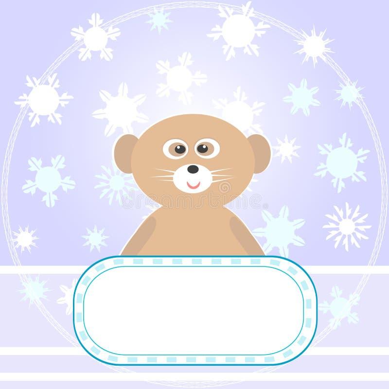 Tarjeta de felicitaciones del oso del bebé con vector de los copos de nieve stock de ilustración