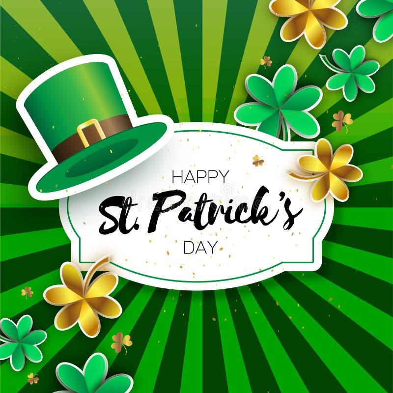 Tarjeta de felicitaciones feliz del día del St Patricks con el trébol y el sombrero La papiroflexia pone verde la celebración irl libre illustration