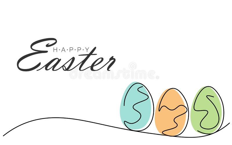 Tarjeta de felicitaciones feliz de Pascua con los huevos, ejemplo del vector ilustración del vector