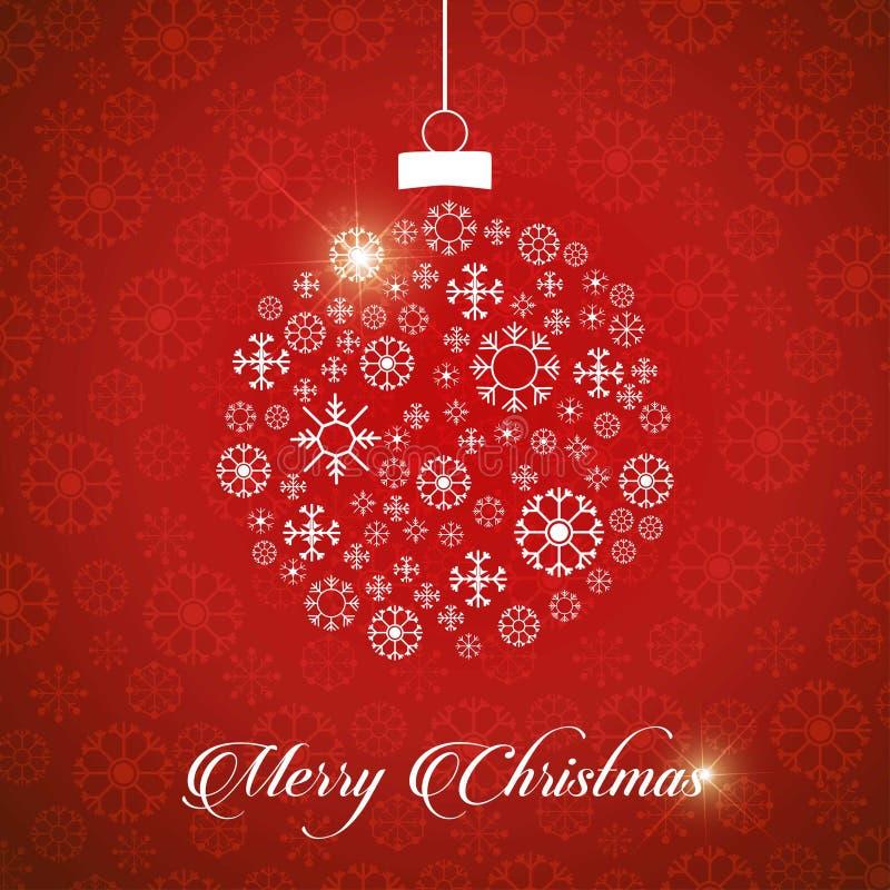 Tarjeta de felicitaciones de la Navidad con los copos de nieve y chri rojos del fondo stock de ilustración