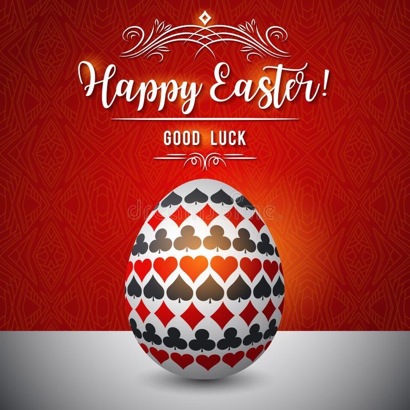 Tarjeta de felicitaciones de Pascua con símbolos de juego rojos y negros sobre el huevo blanco, ejemplo del vector r libre illustration