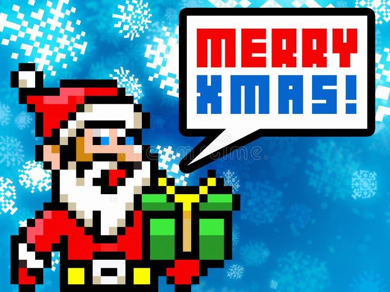 Tarjeta de felicitaciones retra de Navidad del estilo del pixel de Papá Noel ilustración del vector