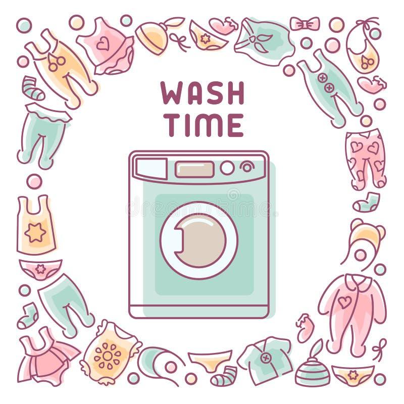 Tarjeta de fichar del lavado con la lavadora y la ropa libre illustration