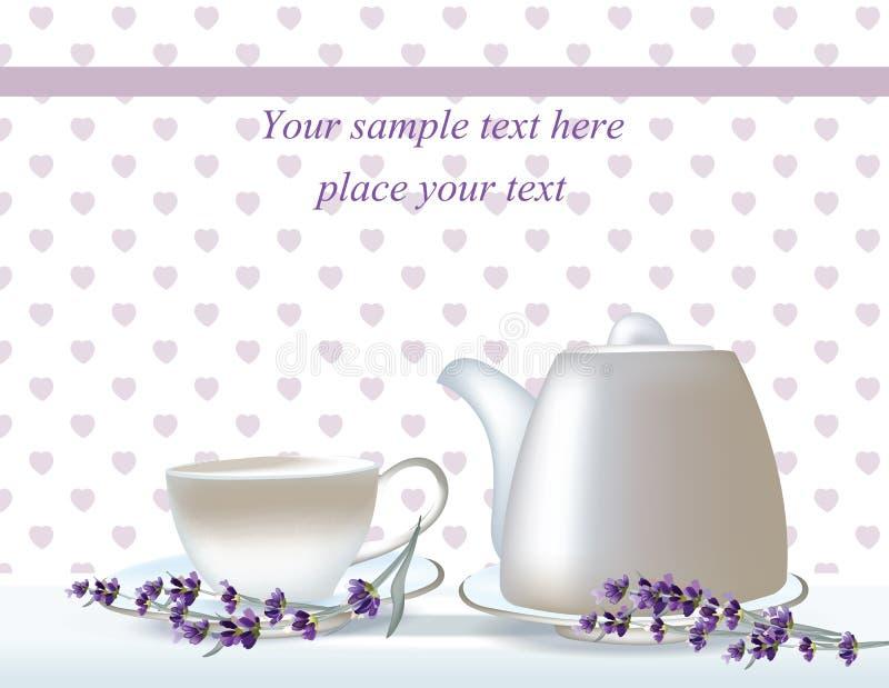 Tarjeta de fichar delicada del té del vector banderas de las hierbas con lavanda Diseñe para la infusión de hierbas, cosméticos n stock de ilustración