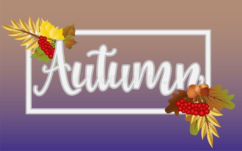 Tarjeta de fichar estacional del otoño, vector ilustración del vector