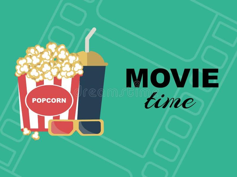 Tarjeta de fichar de la película con palomitas, la bebida y los vidrios 3d stock de ilustración