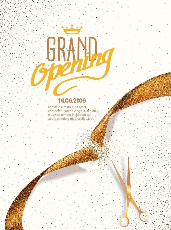 Tarjeta de gran inauguración con las tijeras de la cinta y del oro del extracto del oro ilustración del vector