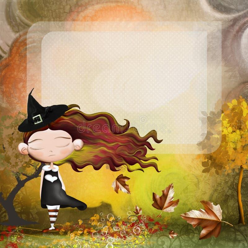 Tarjeta de Halloween con la bruja y la calabaza ilustración del vector