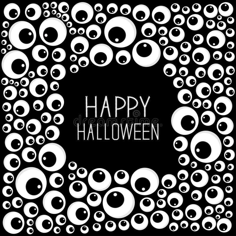 Tarjeta De Halloween Del Marco De Los Ojos Diseño Plano Del Fondo ...