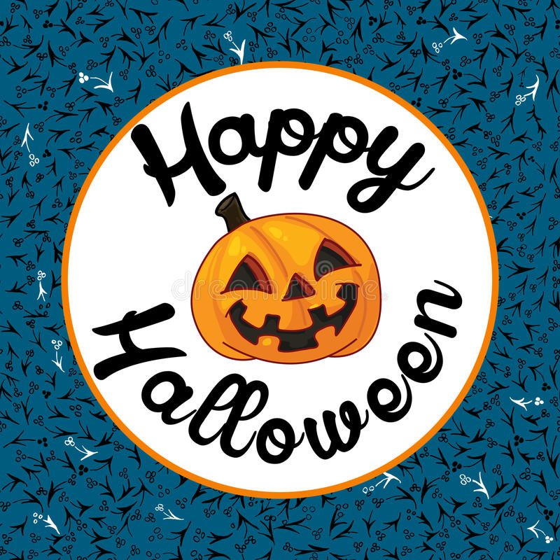 Tarjeta de Halloween en fondo azul libre illustration