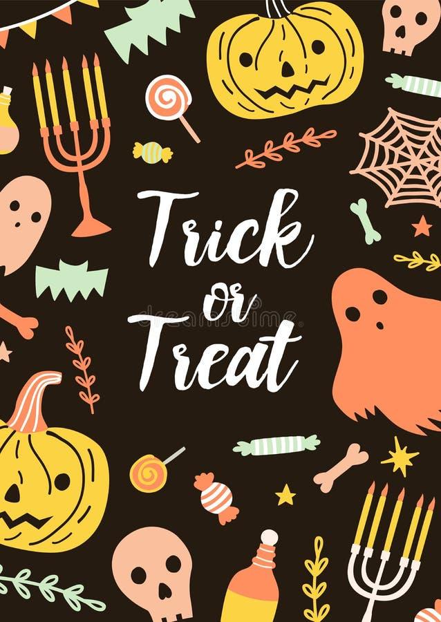 Tarjeta de Halloween o plantilla vertical festiva de la postal con las letras del truco o de la invitación rodeadas por día de fi ilustración del vector
