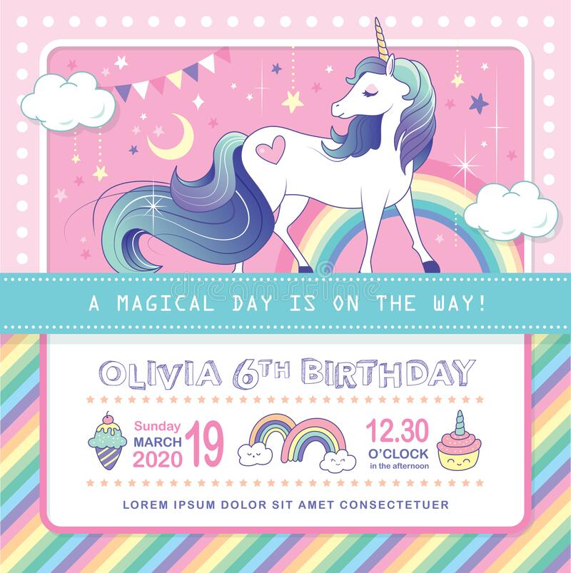 Tarjeta de invitación de la fiesta de Unicornio imagen de archivo libre de regalías