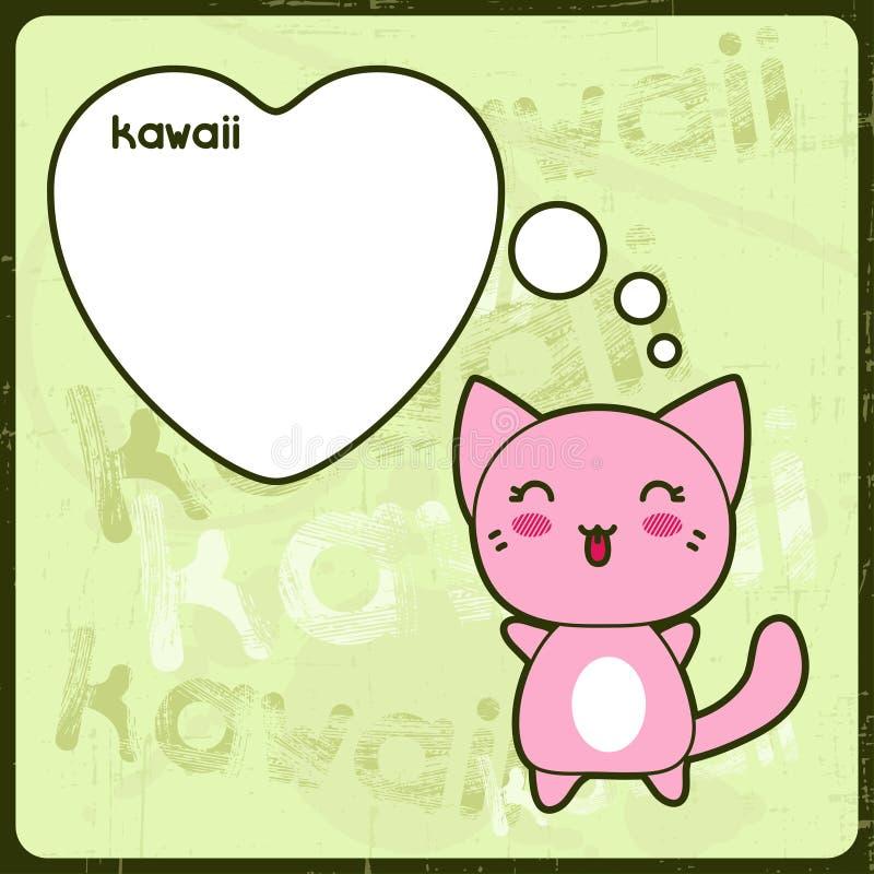 Tarjeta de Kawaii con el gato lindo en el fondo del grunge libre illustration