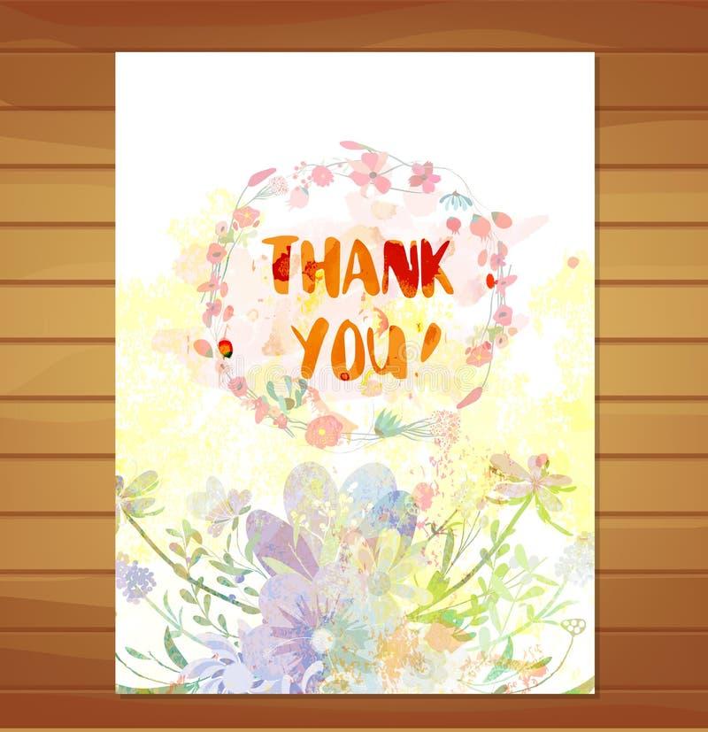 Tarjeta de la acción de gracias Fondo de la flor de la acuarela libre illustration