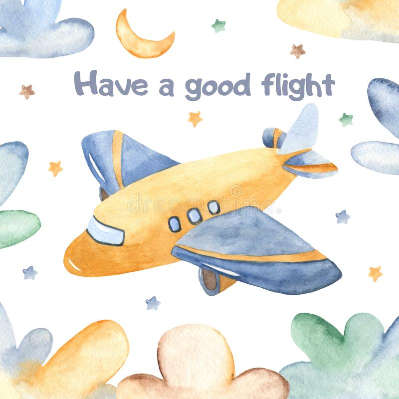 Tarjeta de la acuarela con el aeroplano y las nubes lindos libre illustration