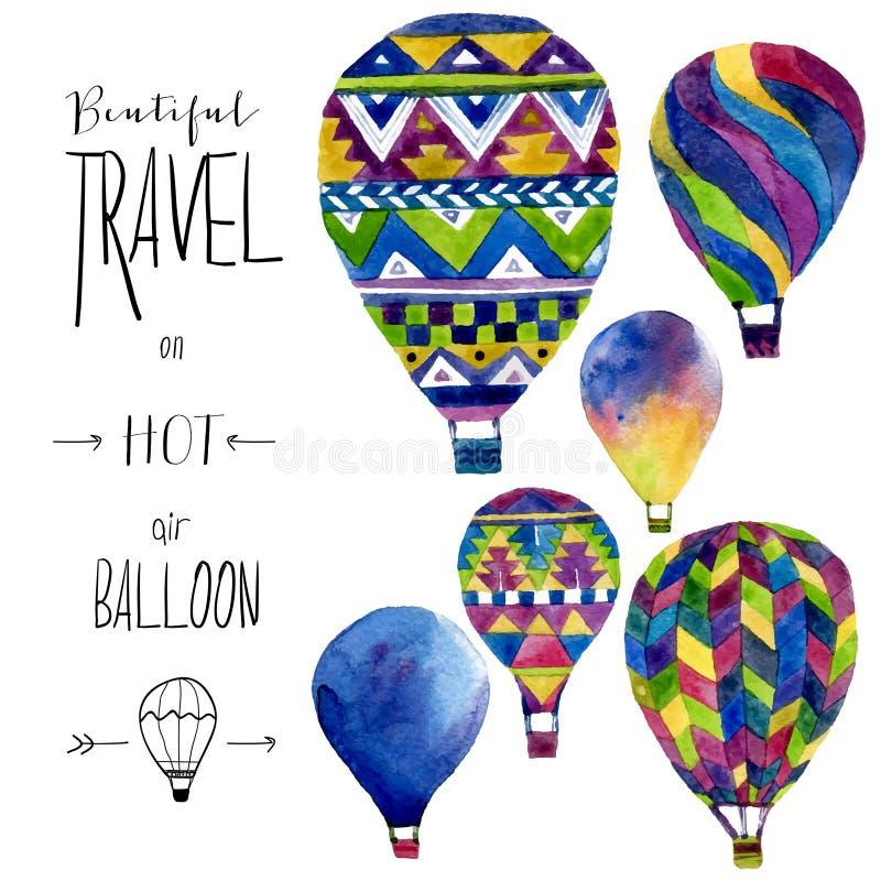 Tarjeta de la acuarela con el globo del aire caliente Ejemplo dibujado mano del collage del vintage Textura de los niños del vect stock de ilustración