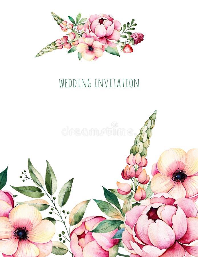 Tarjeta de la acuarela con la flor, peonías, hojas, ramas, altramuz, planta de aire, fresa stock de ilustración