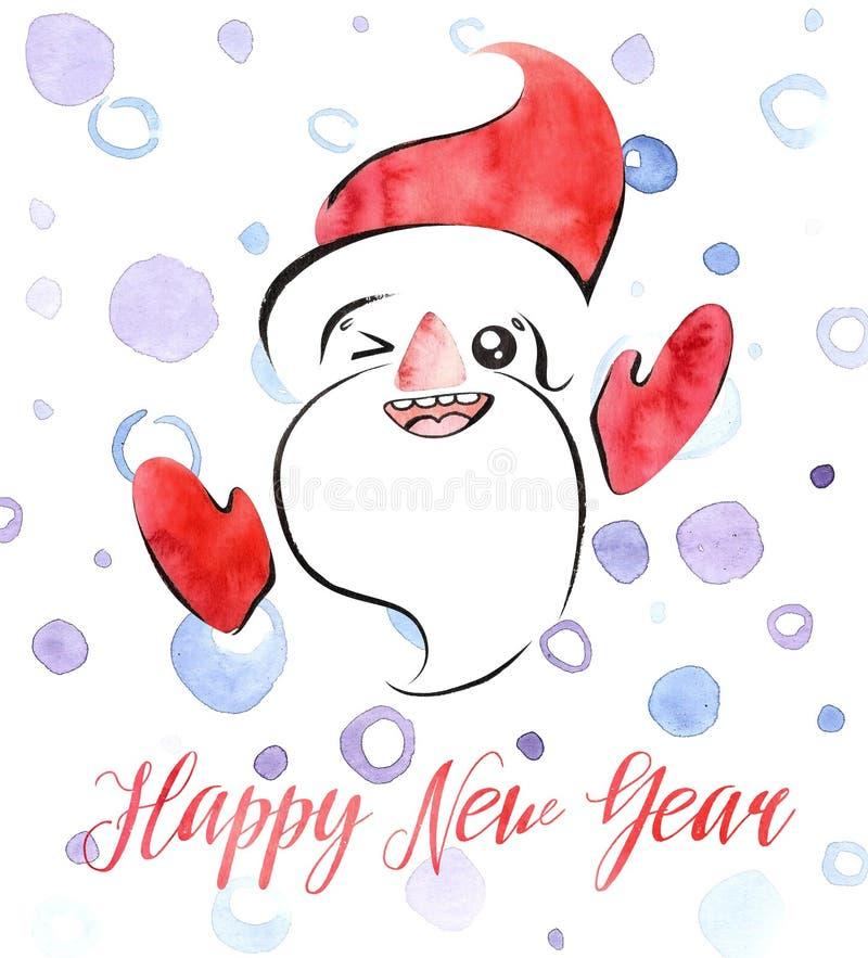 Tarjeta de la acuarela de la Feliz Año Nuevo con Santa Claus, los copos de nieve y las letras, estilo retro del kawaii lindo libre illustration