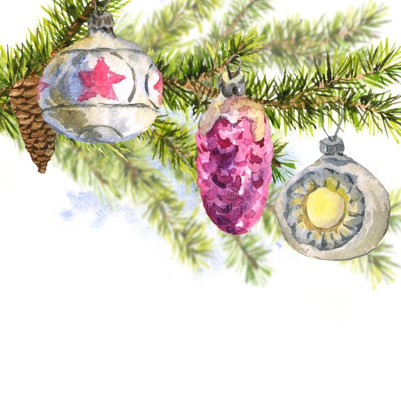 Tarjeta de la acuarela de la Navidad con la puntilla de abetos ilustración del vector