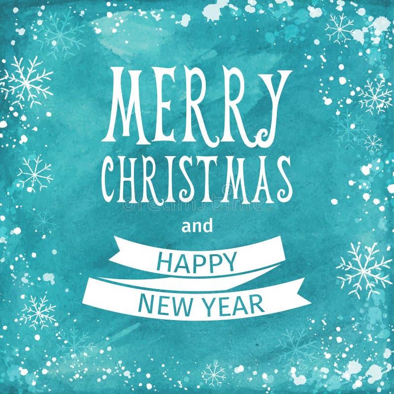 Tarjeta de la acuarela del saludo Deletreado de la Feliz Navidad Vector libre illustration