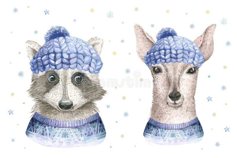 Tarjeta de la acuarela de la Feliz Navidad con los elementos deerfloral del mapache y del bebé Carteles de las letras del cervati libre illustration