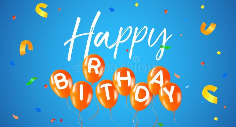 Tarjeta de la bandera del web del globo del partido del feliz cumpleaños ilustración del vector