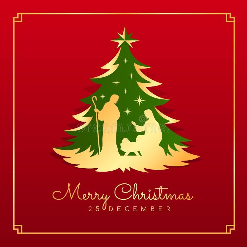Tarjeta de la bandera de la Feliz Navidad con el paisaje nocturno Maria y José de la Navidad en un pesebre con el bebé Jesús en t ilustración del vector
