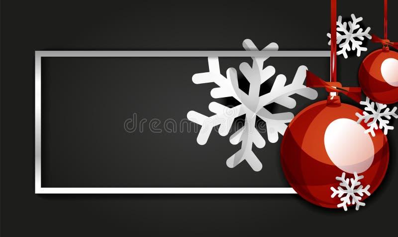 Tarjeta de la bandera de la Navidad y del Año Nuevo, bolas de la Navidad, fondo negro stock de ilustración