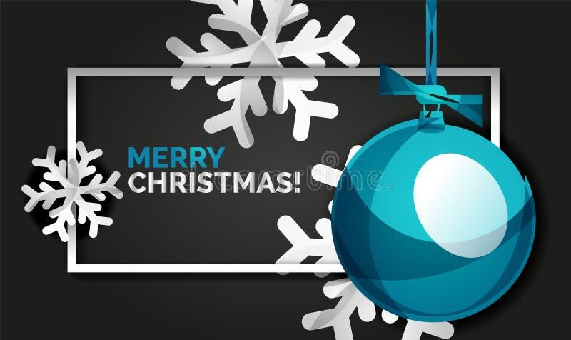 Tarjeta de la bandera de la Navidad y del Año Nuevo, bolas de la Navidad, fondo negro ilustración del vector