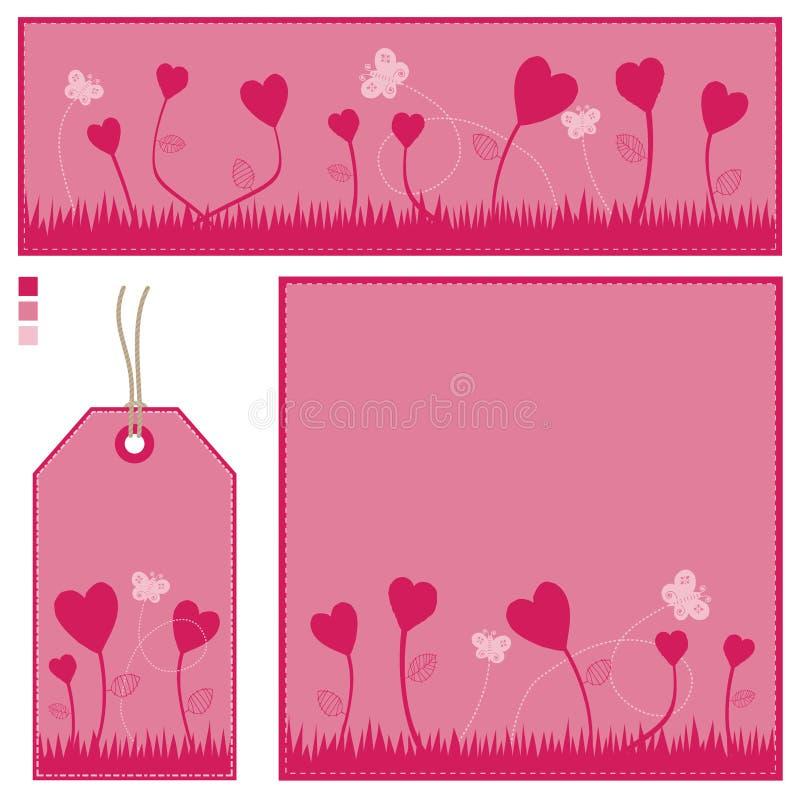 Tarjeta de la bandera y conjunto rosados de la etiqueta stock de ilustración