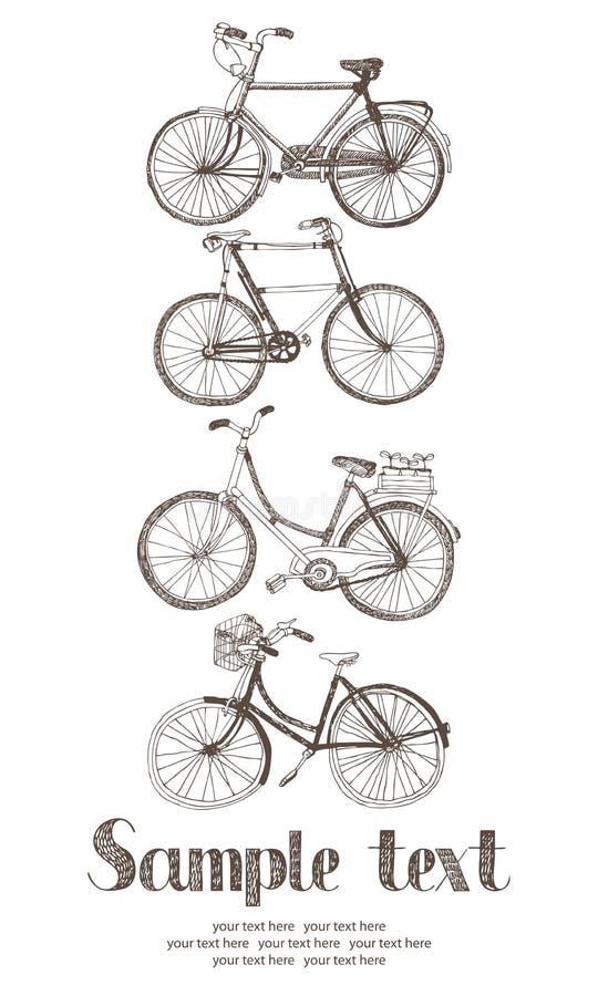 Tarjeta de la bicicleta del vintage stock de ilustración