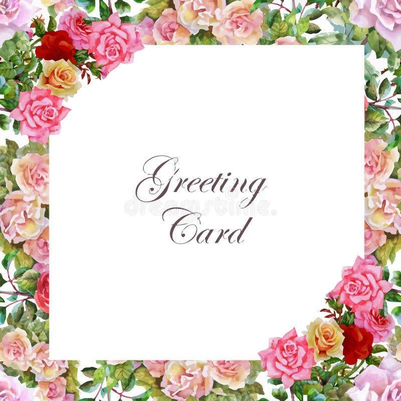 Tarjeta de la boda o de cumpleaños Marco floral Fondo de la acuarela con las flores libre illustration