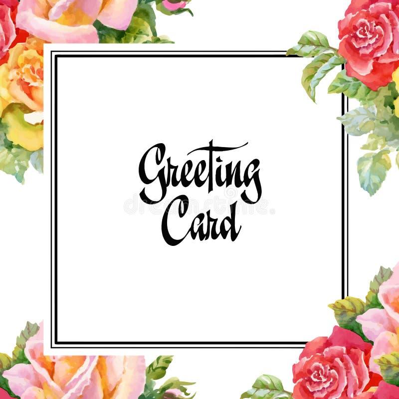 Tarjeta de la boda o de cumpleaños Marco floral Fondo de la acuarela con las flores stock de ilustración