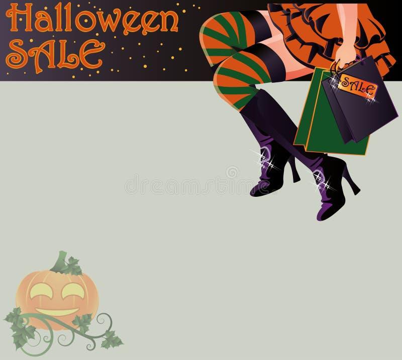 Tarjeta de la bruja de las compras de la venta de Halloween ilustración del vector