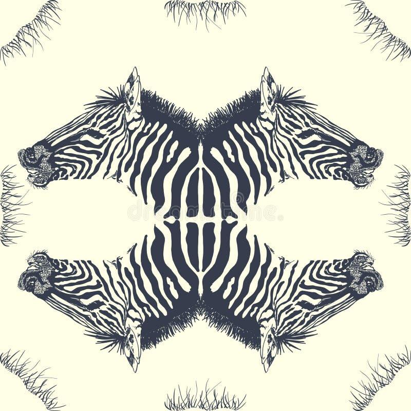 Tarjeta de la cebra ilustración del vector