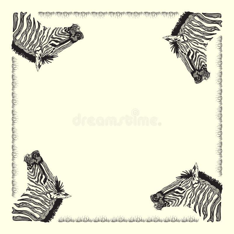 Tarjeta de la cebra stock de ilustración