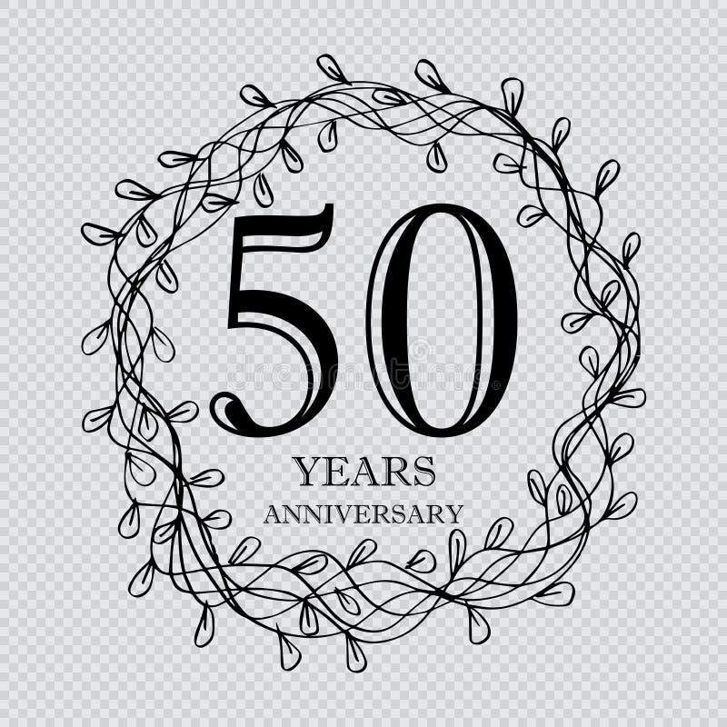 tarjeta de la celebración del aniversario de 50 años stock de ilustración