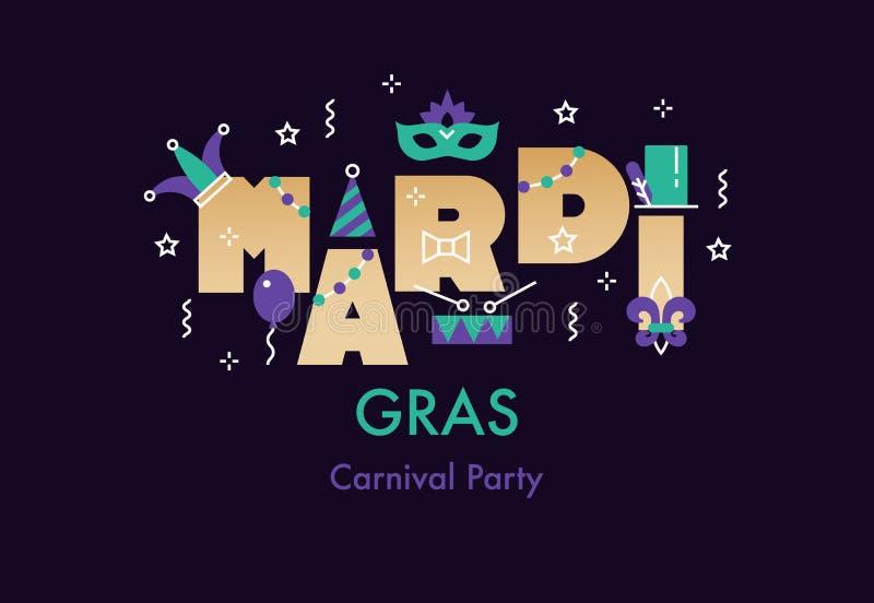 Tarjeta de la celebración de Mardi Gras stock de ilustración