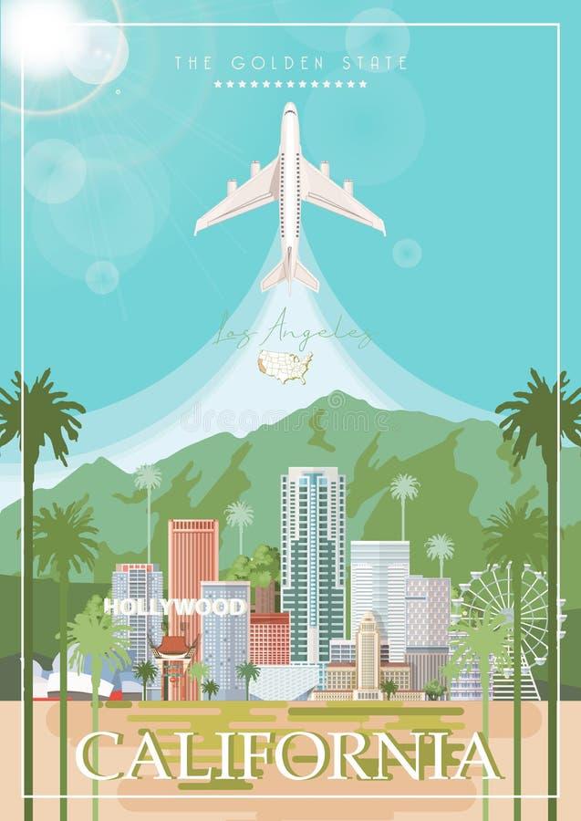 Tarjeta de la ciudad del vector de Los Ángeles Cartel de California en estilo plano colorido libre illustration