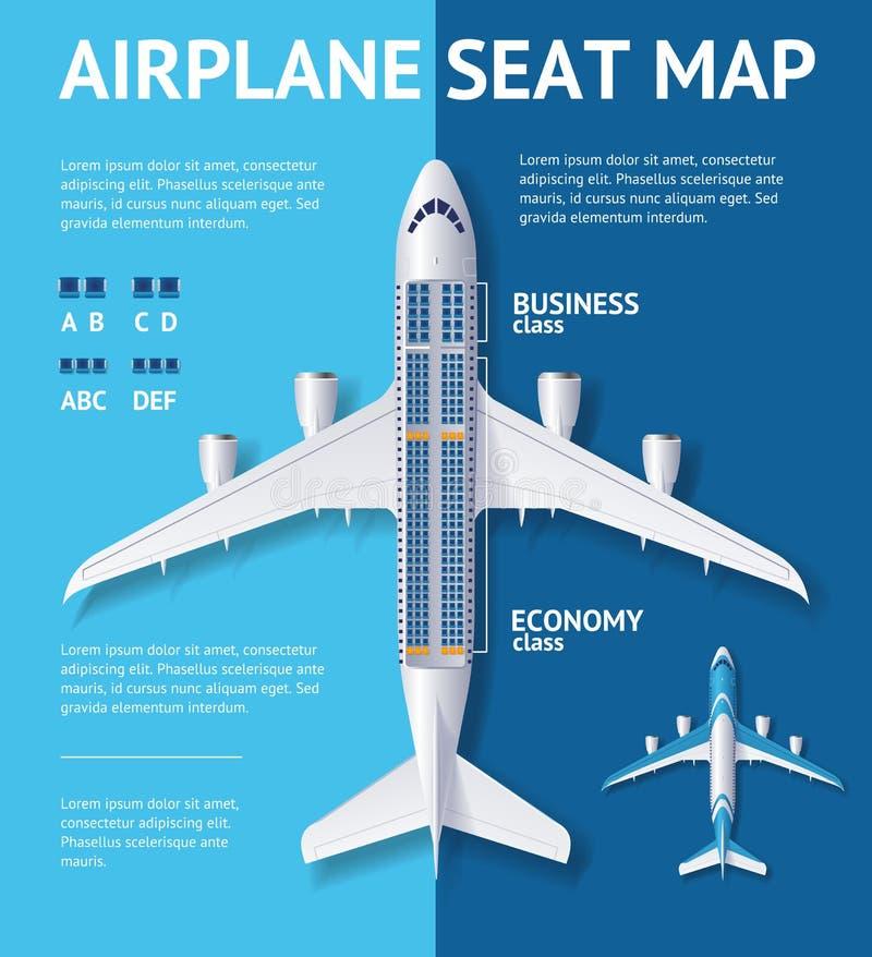 Tarjeta de la clase del mapa de Seat del aeroplano Vector stock de ilustración